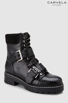 Carvela Black Leather Saunter Lace-Up Buckles Boot