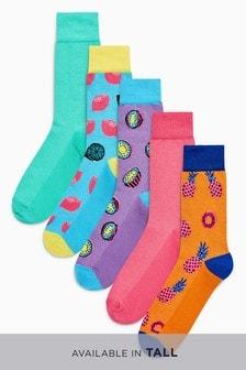 Lot de cinq paires de chaussettes à motif fruit