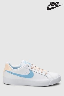 Nike White/Blue Court Royale AC Trainers