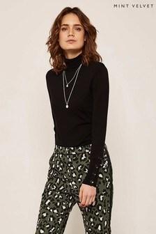 Mint Velvet Black Buttoned Roll Neck Knit