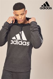 adidas Grey Logo Fleece Pullover Hoody