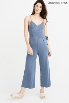 Abercrombie & Fitch Navy Cropped Knit Jumpsuit