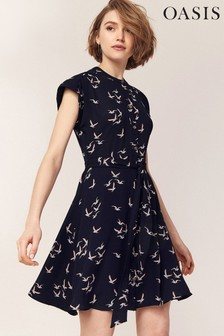 Oasis Blue Bird Print Dress