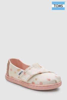 Toms White Pink Spot Velcro Alpargata Slip-On Shoe