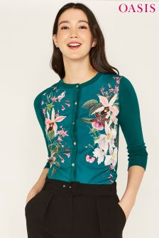 Oasis Green Secret Garden Woven Front Cardi