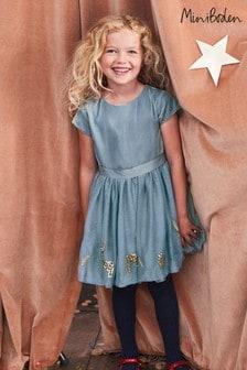 Boden Blue Velvet Appliqué Dress
