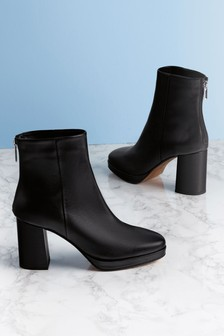 Signature Leather Platform Boots