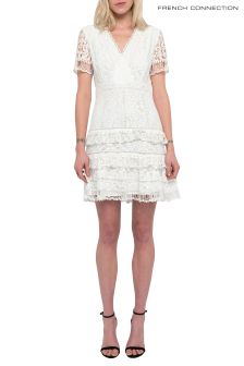 French Connection White Arta Lace Ruffle Dress