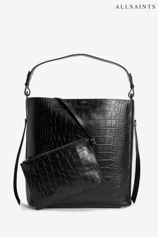 AllSaints Black Moc Croc Leather Polly Tote Bag