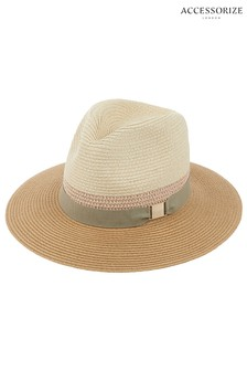 Accessorize Natural Fedora Hat