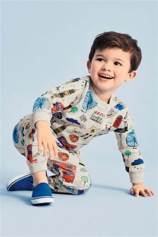London All Over Print Crew And Jogger Set (3mths-6yrs)