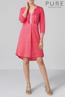 Pure Collection Pink Linen Jersey Tassel Neck Dress