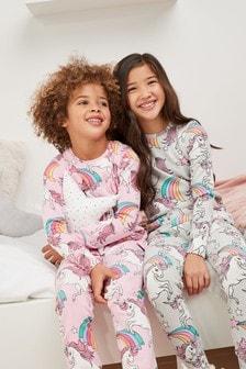 Набор пижам облегающего кроя с единорогами (2 шт.) (3-16 лет)