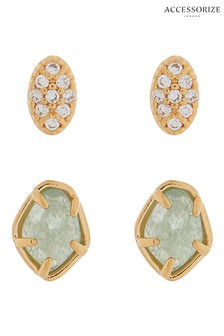 Z for Accessorize Semi Precious And Pave Oval Studs Two Pack
