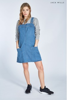 Jack Wills Indigo Jaden Denim Popper Dungaree Dress