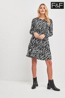 F&F Multi Zebra Print Swing Dress