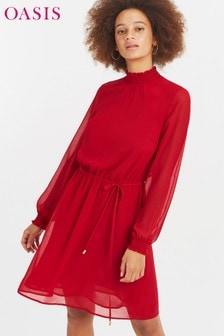 שמלה עם צווארון גבוה של Oasis באדום
