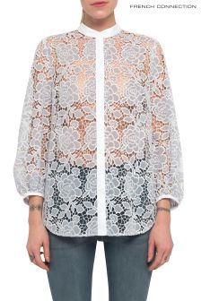 French Connection Pale Blue Chania Lace Puff Sleeve Shirt