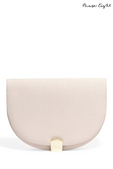 Phase Eight Pink Tilly Halfmoon Grograin Clutch Bag