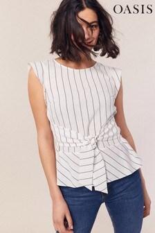 Oasis Natural Linen Look Stripe Tie Top