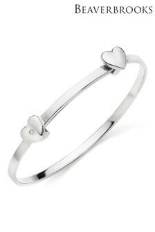 Beaverbrooks Children's Silver Diamond Heart Bangle