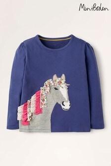 Mini Boden Blue Ruffle Appliqué T-Shirt