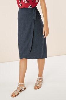 Wrap Linen Blend Skirt
