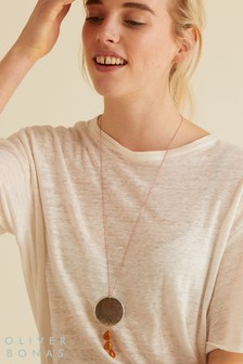 Oliver Bonas Gold Chain, Metallic Wood & Stone Drop Necklace