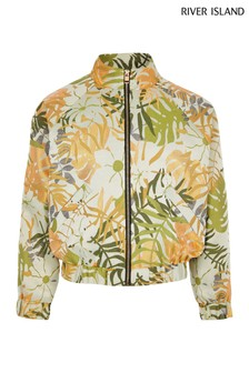 River Island Green Jungle Jacquard Bomber