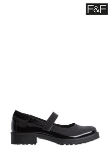 F&F Black Velcro Mary Jane Patent Shoes