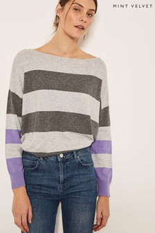 Mint Velvet Grey Oversized Wide Stripe Knit