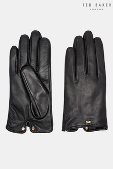 Ted Baker Bowsii Black Leather Bod Detail Gloves