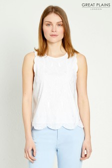 Great Plains White Bali Embroidery Sleeveless Top