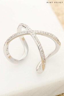 Mint Velvet Silver Tone & Sparkle Cross Over Ring