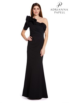 Adrianna Papell Black Long Draped Crepe Dress