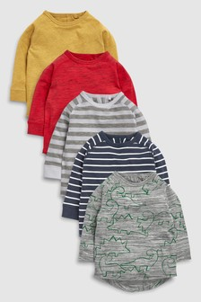 Long Sleeve Dinosaur T-Shirt Five Pack (3mths-6yrs)