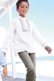 Long Sleeve Embroidered Kaftan Shirt (3-16yrs)