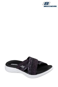 Skechers® Black On The Go 600 Monarch Black Cross Band Sandal