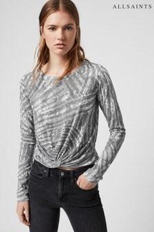 חולצת טי של AllSaints דגם Tonal Zebra Zake בלבן