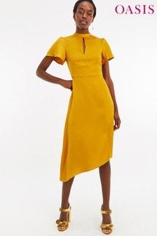 Vestido asimétrico a media pierna de satén amarillo de Oasis