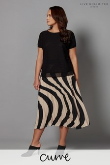 Live Unlimited Black And Stone Wave Print Pleat Skirt