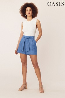 Oasis Denim Chambray Tie Shorts