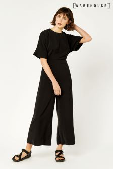 Warehouse Navy Wide Leg Jumpsuit