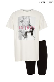 River Island White Tee And Short Set
