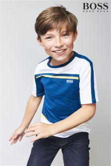 BOSS T-Shirt im Blockfarbendesign, marineblau/weiß