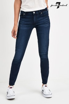 7 For All Mankind Dark Blue Skinny Crop Stretch Jean