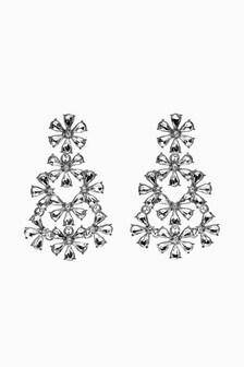 Jewelled Floral Effect Drop Earrings