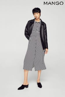 Mango Black/White Striped Dress
