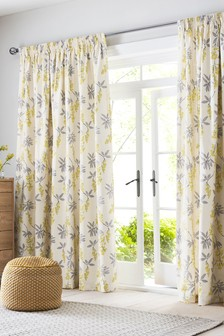 Laburnum Floral Pencil Pleat Curtains