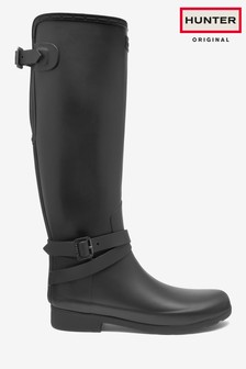 Hunter Women's Black Refined Adjustable Tall Wellies
